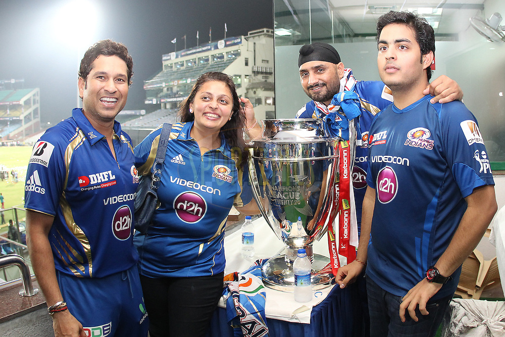 Sachin Tendulkar of Mumbai Indians poses with the trophy during the Final of the Karbonn Smart Champions League T20 between The Rajasthan Royals and the Mumbai Indians held at the Feroz Shah Kotla Stadium, Delhi on the 6th October 2013<br /> <br /> <br /> Photo by Ron Gaunt-CLT20-SPORTZPICS <br /> <br /> Use of this image is subject to the terms and conditions as outlined by the CLT20. These terms can be found by following this link:<br /> <br /> http://sportzpics.photoshelter.com/image/I0000NmDchxxGVv4
