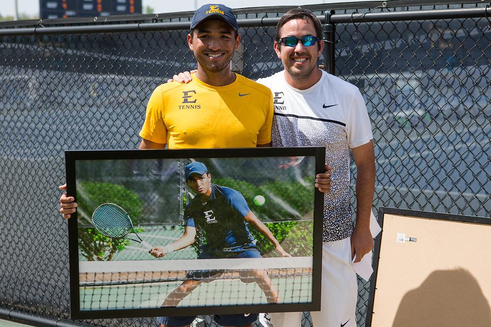April 14, 2017 - Johnson City, Tennessee - Dave Mullins Tennis Complex: Diego Nunez &amp; Ricardo Rojas<br /> <br />  Image Credit: Dakota Hamilton/ETSU