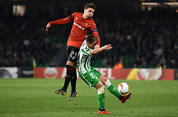 February 21, 2019 - Seville, Spain - Soccer players Lo Celso and Adrien Hunou during the Europa League round of 32 second leg soccer match between Betis and Rennes at the Benito Villamarin stadium, in Seville, Spain, Thursday, Feb. 21, 2019. (Credit Image: © Gtres/NurPhoto via ZUMA Press)
