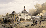 Russo-Turkish (Crimean) War 1853-1856. Siege of Sebastopol (Sevastopol) October 1854 to September 1855. Damaged church at the back of the Redan as it appeared after the Russian surrender 11 September 1855. Illustration by William Simpson for 'Illustration of the War in the East'. 1855-1856. Tinted lithograph.