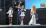 """Semi-professional cosplayers competing showing off their homemade outfits before judges on the catwalk stage at the """"home of cosplay"""", Oasis 21."""