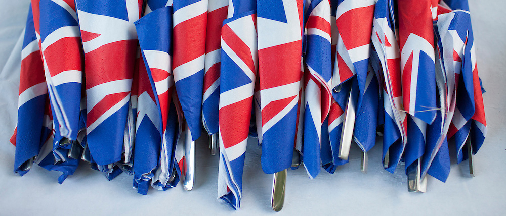 Union Jack flags on napkins as patriotic gesture for jubilee street party celebrations in the UK