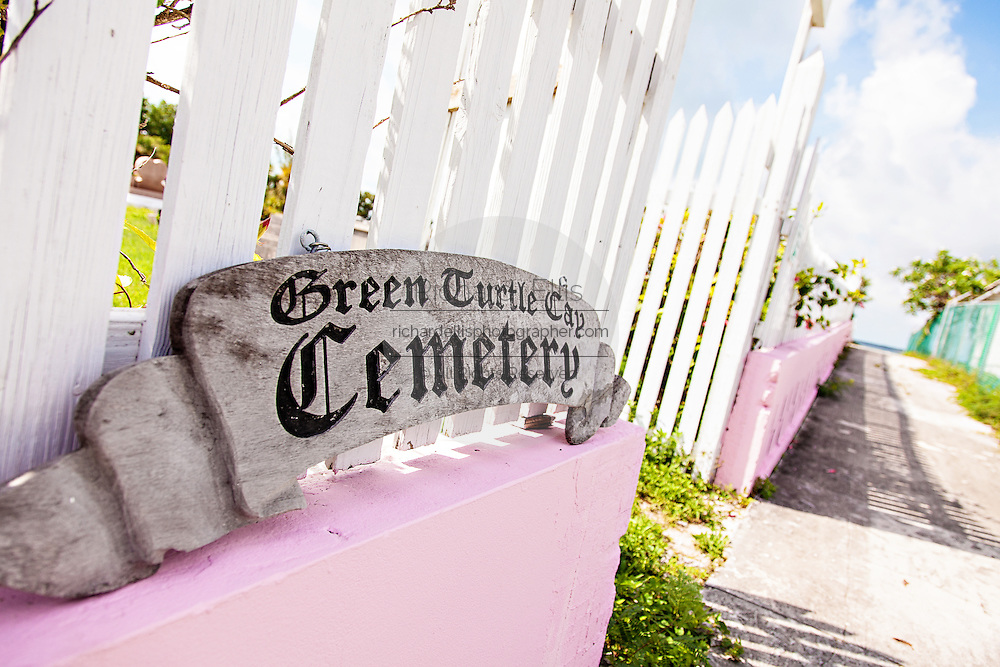 Sign for the town cemetery in the village of New Plymouth, Green Turtle Cay, Bahamas.