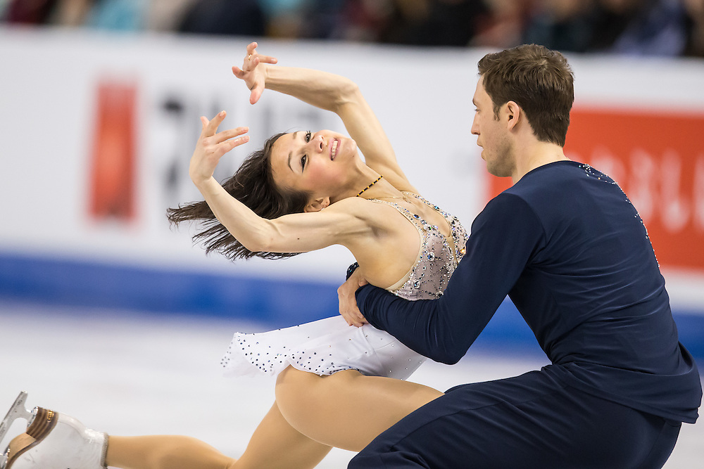 Lubov Iliushechkinaand Dylan Moscovitch of Canada perform their free skate in the pairs competition at the ISU World Figure Skating Championships at TD Garden in Boston, Massachusetts, April 2, 2016.
