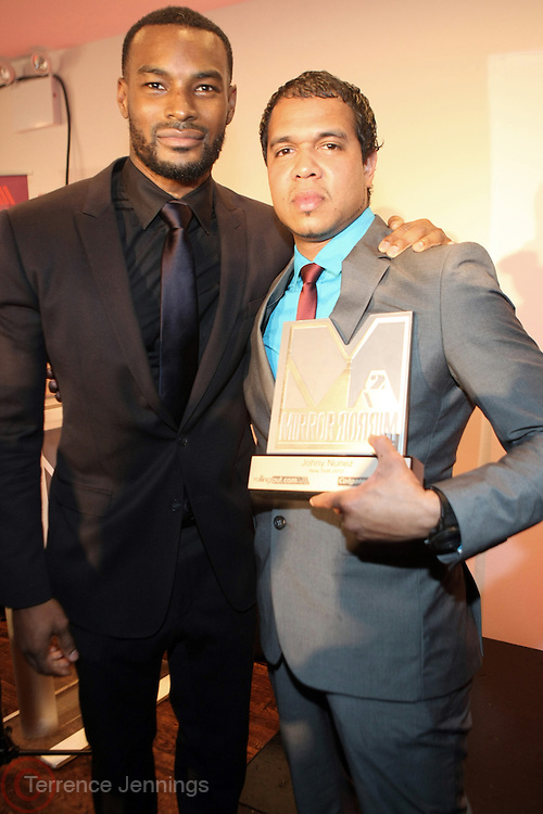 December 12, 2012-New York, NY- (L-R) Model/TV Personality Tyson Beckford and Photographer Johnny Nunez (Honoree) attend the 2012 MirrorMirror Awards sponsored by Colgate & presented by Rollingout.com held at the Union Square Ballroom on December 12, 2012 in New York City. Rolling Out is the information source for urban lifestyle with national & local breaking news & original stories. (Terrence Jennings)