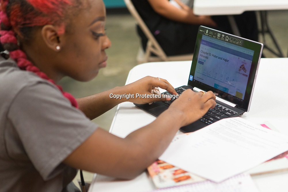 Shanteria Evans uses her computer to look up the class chapter on water and major minerals at the Tupelo Academy of Cosmetology. Each student enrolled in the cosmetology program is issued a laptop to use.
