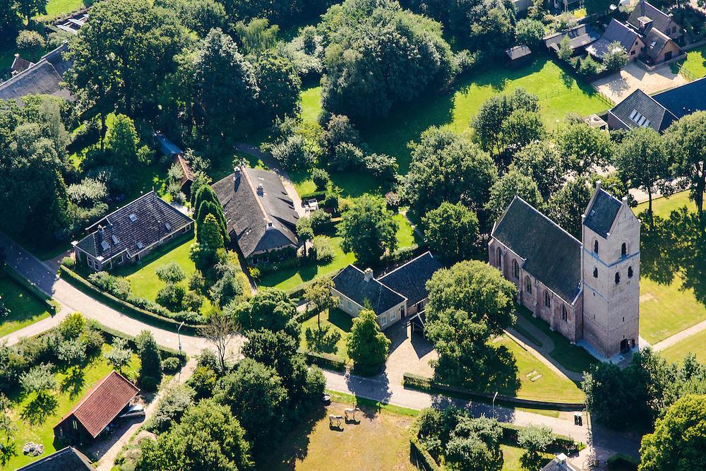 Nederland, Overijssel,  Gemeente Westerveld., 27-08-2013; Brinkdorp Vledder met oude en nieuwe in oude stijl gebouwde woningen rond de 14eeuwse Johannes de Doperkerk (Rijksmonument).<br /> Village of Vledder (east Netherlands) with the John the Baptist church (14th century).<br /> luchtfoto (toeslag op standaard tarieven);<br /> aerial photo (additional fee required);<br /> copyright foto/photo Siebe Swart.