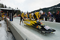 The Swiss team of Beat Hefti, Juerg Egger, Thomas Lamparter and Christian Aebli compete in the Mens' four-person bobsleigh World Cup competition held at the Whistler Sliding Centre on Feb 7, 2009