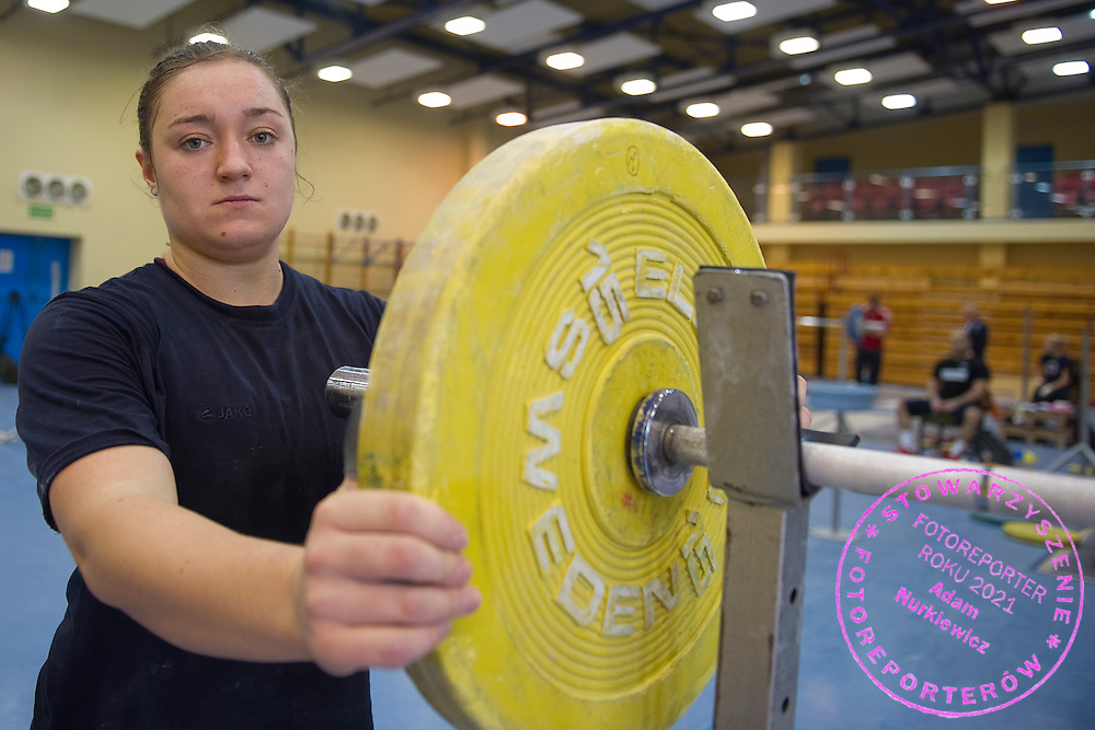 Malgorzata Wiejak from Poland (Zawisza Bydgoszcz; category +75 kg) during training session two weeks before weightlifting IWF World Championships Wroclaw 2013 at the Olympic Sports Centre in Spala on October 08, 2013.<br /> <br /> Poland, Warsaw, September 16, 2013<br /> <br /> Picture also available in RAW (NEF) or TIFF format on special request.<br /> <br /> For editorial use only. Any commercial or promotional use requires permission.<br /> <br /> Mandatory credit:<br /> Photo by &copy; Adam Nurkiewicz / Mediasport