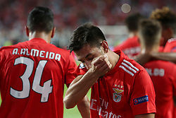 August 21, 2018 - Lisbon, Portugal - Benfica's Portuguese midfielder Pizzi celebrates after scoring a goal during the UEFA Champions League play-off first leg match SL Benfica vs PAOK FC at the Luz Stadium in Lisbon, Portugal on August 21, 2018. (Credit Image: © Pedro Fiuza via ZUMA Wire)