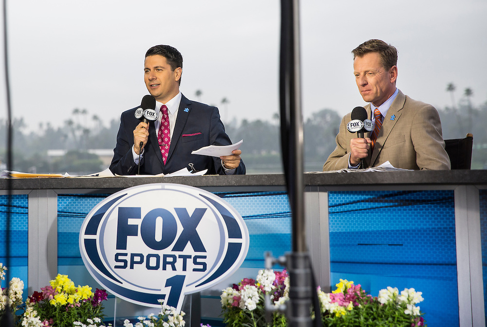 February 07 2015: The Fox Sports 1 on air talent at Santa Anita Park in Arcadia CA. Alex Evers/ESW/CSM`