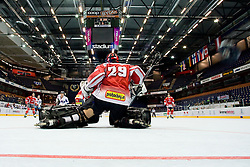 Bernhard Starkbaum of Austria with no chance to stop the puck (on right) at IIHF In-Line Hockey World Championships qualification match between National teams of Germany and Great Britain on July 1, 2010, in Karlstad, Sweden. (Photo by Matic Klansek Velej / Sportida)