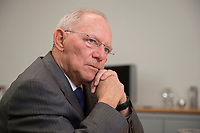 16 NOV 2016, BERLIN/GERMANY:<br /> Wolfgang Schaeuble, CDU, Federal Minister of Finance, during an Interview, in his office, Federal Ministy of Finance<br /> Wolfgang Schaeuble, CDU, CDU, Bundesfinanzminister, waehrend einem Interview, in seinem Buero, Bundesministerium der Finanzen<br /> IMAGE: 20161116-02-031<br /> KEYWORDS: Wolfgang Schäuble, Büro