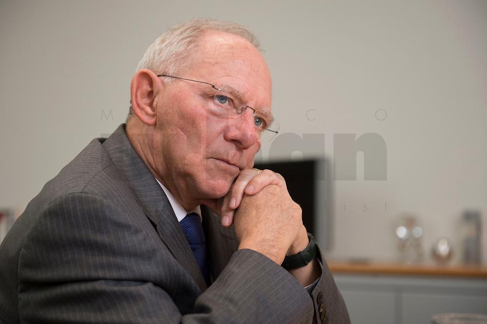 16 NOV 2016, BERLIN/GERMANY:<br /> Wolfgang Schaeuble, CDU, Federal Minister of Finance, during an Interview, in his office, Federal Ministy of Finance<br /> Wolfgang Schaeuble, CDU, CDU, Bundesfinanzminister, waehrend einem Interview, in seinem Buero, Bundesministerium der Finanzen<br /> IMAGE: 20161116-02-031<br /> KEYWORDS: Wolfgang Schäuble, Büro
