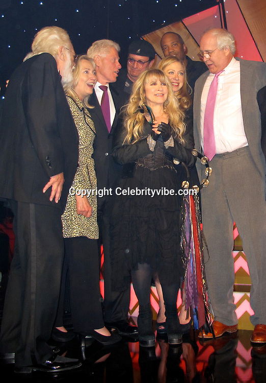 """Hillary Clinton, Bill Clinton, Chelsea Clinton, Chevy Chase and Stevie Nicks..Bill Clinton's 65th Birthday Gala Featuring Stevie Nicks and The Clinton Foundation's """"A Decade Of Difference"""" Gala..Hollywood Palladium..Hollywood, CA, USA..Friday October 14, 2011..Photo ByCelebrityVibe.com..To license this image please call (323) 325-4035; or Email:CelebrityVibe@gmail.com ;.website: www.CelebrityVibe.com .**EXCLUSIVE**."""