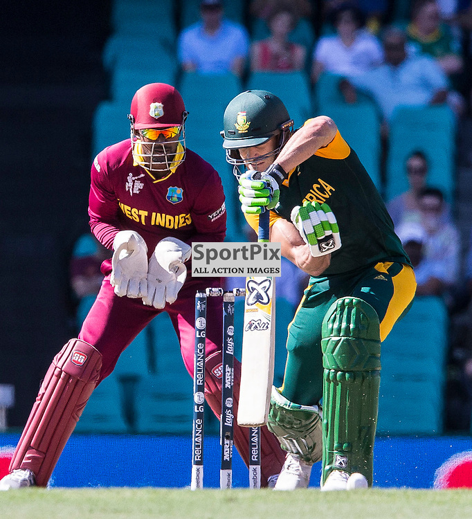 ICC Cricket World Cup 2015 Tournament Match, South Africa v West Indies, Sydney Cricket Ground; 27th February 2015<br /> South Africa&rsquo;s Francois Du Plessis has trouble with a delivery from West Indies Sulieman Benn