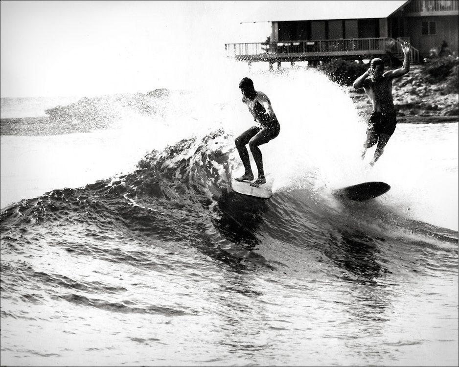 Bill Robbins Makaha backwash 1966 by LeRoy Grannis