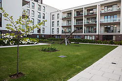 London, UK. 26th March, 2019. A communal play space at Henley Homes' 149-home Baylis Old School complex in Lambeth which is not accessible to nearby social housing tenants. Henley Homes and Lambeth Council have been widely criticised because of the manner in which communal play spaces at the development have been segregated so as deny children living in social housing access to play with the children of wealthier families who have purchased accommodation in the development. Planning permission for the development was granted on condition that it include a mix of affordable and social housing.
