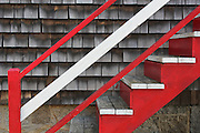 Red stairs in Rockport, Massachusetts