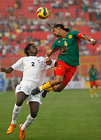 Photo: Steve Bond/Richard Lane Photography.<br /> Cameroun v Zambia. Africa Cup of Nations. 26/01/2008. Rigobert Song (R) clears the ball over Jacob Mulenga (L)
