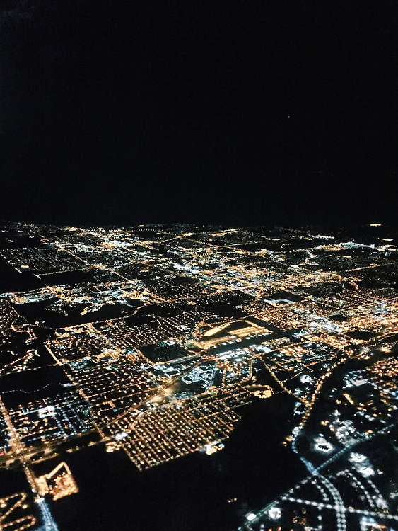 Anchorage, Alaska at night from the air. Taken with an iPhone