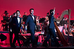 May 9, 2017 - Milan, Italy - The Italian Trio Il Volo on the stage of the Mediolanum Forum in Milan for the only Milan concert of their tour ''Magic Night, tribute to the Three Tenors'', Tour 2017. (Credit Image: © Luca Marenda/Pacific Press via ZUMA Wire)
