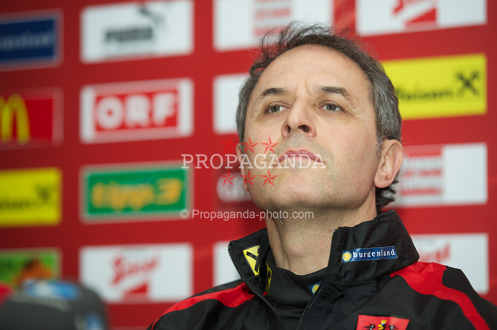 SWANSEA, WALES - Tuesday, February 5, 2013: Austria's head coach Marcel Koller during a press conference at the Liberty Stadium ahead of the International Friendly against Wales. (Pic by David Rawcliffe/Propaganda)
