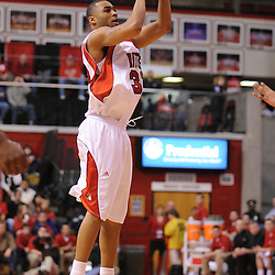 Jan 31, 2009; Piscataway, NJ, USA; Rutgers guard/forward Jaron Griffin (32) puts up a three point shot during the first half of Rutgers' 75-56 victory over DePaul in NCAA college basketball at the Louis Brown Athletic Center