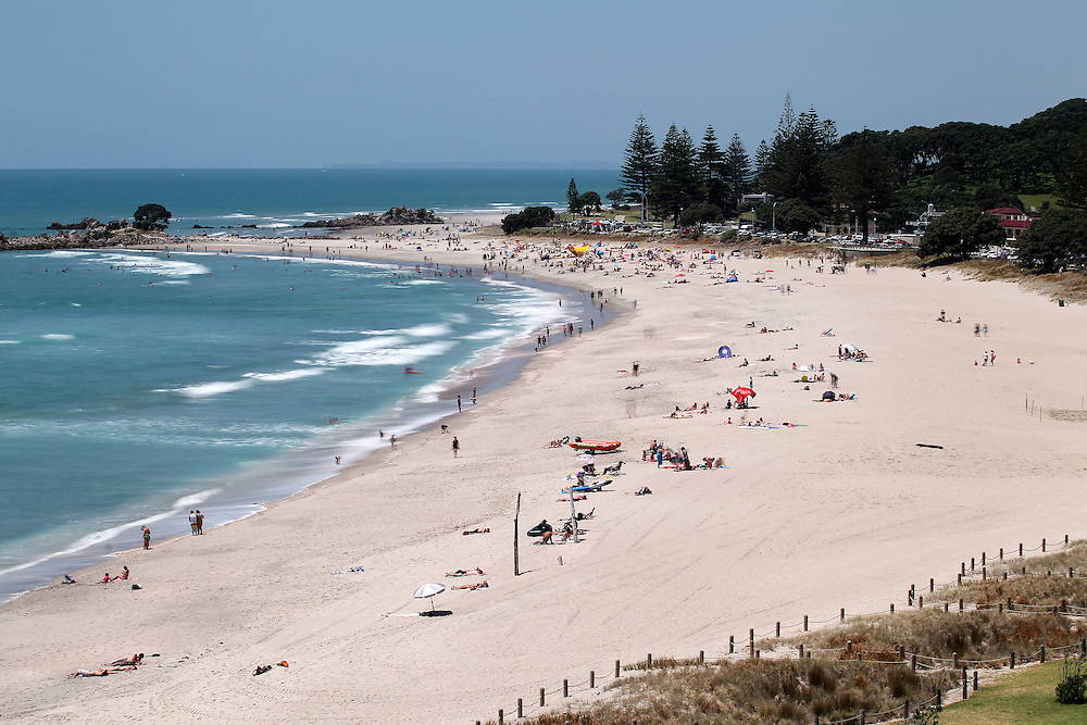 View of Mount Maunganui beach, New Zealand, Wednesday, January 9, 2013. Credit:SNPA / Ben Campbell