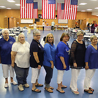 From left, newly installed Auxiliary Unit 26 officers are, from left, sergeant-at-arms Toni Gunter; executive committee member-at-large ??; executive committee member-at-large Ann Johnson; chaplain ??; historian Kelly Nash-Johnson; treasurer Susie Spruill; secretary ??; vice president Tricia Darty; and president Diane Delue.