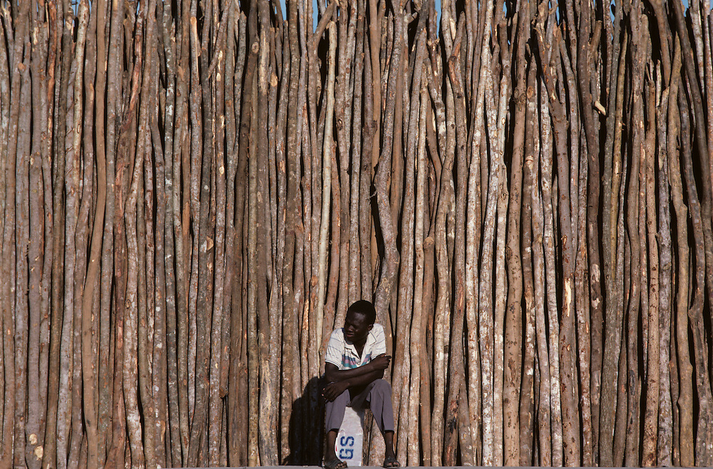 Haiti, Port-au-Prince, Man sits on sidewalk in front of thin poles of wood for sale in Cite Soleil shantytown