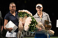 Venus Williams and Caroline Wozniacki at the 2018 Champions Battle at Parken, Copenhagen, Denmark, 30-04-2018. Photo Credit: Katja Boll/EVENTMEDIA.
