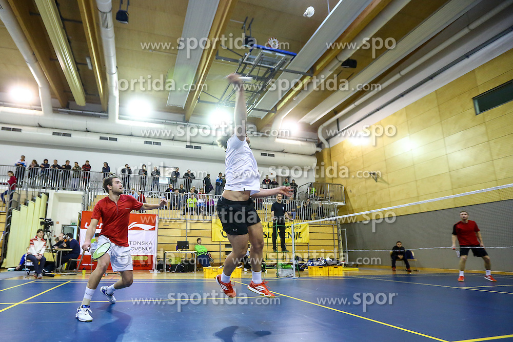 Mitja Semrov and Matevz Bajuk (BK Mirna) during 58th Slovenian national championship in badminton on Februar 1, 2015 in Zg. Kungota, Slovenia. (Photo By Grega Valancic / Sportida)