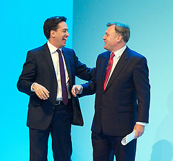 Labour Party Conference.<br /> Labour Party leader Ed Miliband (L) applauds Shadow Chancellor Ed Balls after he addressed the Labour Annual Conference at the Brighton Conference Centre, Brighton, United Kingdom. Monday, 23rd September 2013. Picture by Elliot Franks / i-Images