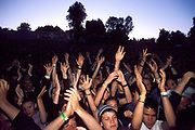Large crowd with hands in the air, Quart festival, Kristiansands Norway 2000
