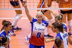 24-08-2017 NED: World Qualifications Netherlands - Czech Republic, Rotterdam<br /> De Nederlandse volleybalsters hebben op het WK-kwalificatietoernooi ook hun derde duel gewonnen. Oranje versloeg in het Topsportcentrum in Rotterdam Tsjechi&euml; in drie sets: 25-18, 25-22 en 25-18. Barbora Purchartova #8 of Czech Republic