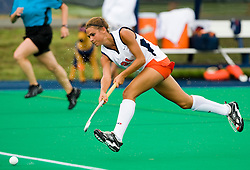August 29, 2008 - CHARLOTTESVILLE, VA -  Virginia Cavaliers midfielder Paige Selenski (21) passes against W&M.  The Virginia Cavaliers field hockey team defeated the William and Mary Tribe 5-0 on the University Hall Turf Field on the Grounds of the University of Virginia in Charlottesville, VA.
