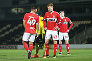 Connor Malley of Middlesbrough (43) waits for aincoming corner kick during the EFL Trophy group stage match between Burton Albion and U21 Middlesbrough at the Pirelli Stadium, Burton upon Trent, England on 7 November 2018.