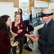 27.04. 2017.          <br /> Pictured at the Limerick Institute of Technology (LIT) SciFest were, Prof. Vincent Cunnane, President LIT with St. Joesphs Secondary School, Tulla Students, Laois Caery and Aoife O'Sullivan with their project The Investigation Behind Tsunamis and The Fear They Evoke Within Us. Picture: Alan Place.