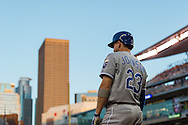 Elliot Johnson #23 of the Kansas City Royals looks on from the on-deck circle against the Minnesota Twins on June 27, 2013 at Target Field in Minneapolis, Minnesota.  The Twins defeated the Royals 3 to 1.  Photo by Ben Krause