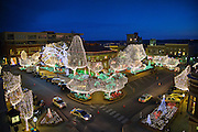 Fayetteville Arkansas Square with Christmas Holiday lights at sunset