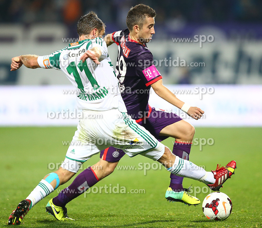 27.10.2013, Generali Arena, Wien, AUT, 1. FBL, FK Austria Wien vs SK Rapid Wien, 13. Runde, im Bild Steffen Hofmann, (SK Rapid Wien, #11) und Markus Suttner, (FK Austria Wien, #29) // during Austrian Bundesliga Football 13th round match, between FK Austria Vienna and SK Rapid Wien at the Generali Arena, Wien, Austria on 2013/10/27. EXPA Pictures © 2013, PhotoCredit: EXPA/ Thomas Haumer