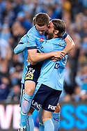 April 29, 2017: Sydney FC midfielder Joshua BRILLANTE (6) celebrates his goal s at Semi Final one of the 2016/17 Hyundai A-League match, between Sydney FC and Perth Glory, played at Allianz Stadium in Sydney.