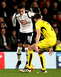 Thomas Ince of Derby County takes on Tom Flanagan of Burton Albion - Mandatory by-line: Robbie Stephenson/JMP - 21/02/2017 - FOOTBALL - iPro Stadium - Derby, England - Derby County v Burton Albion - Sky Bet Championship