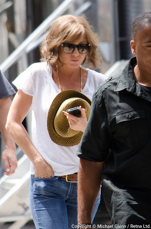 "NEW YORK, NY, USA-July 31. Jennifer Aniston outside her trailer while on set at Movie shoot ""squirrel to the nuts"". July 31 2013. Photo by Michael Glenn / Retna Ltd."
