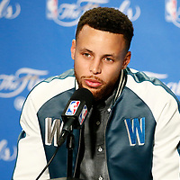 01 June 2017: Golden State Warriors guard Stephen Curry (30) is seen during a press conference following the Golden State Warriors 113-90 victory over the Cleveland Cavaliers, in game 1 of the 2017 NBA Finals, at the Oracle Arena, Oakland, California, USA.
