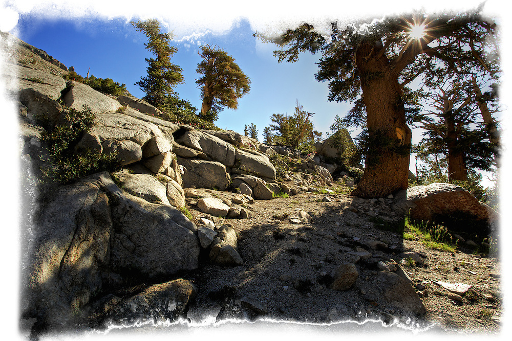 High Sierras, Sierras, path, mountains, rocks, sunburst, sun, california, nature, blue skys, sunny,