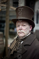 © London News Pictures. 11/02/12. Stuart Dukes plays his Victorian character Beefy at Dockens World, Chatham, Kent. Players from The Seven Dials Rapscallions re-enact life in Victorian London in celebration of Dickens' 200th birthday at Dickens World, Chatham, Kent.  Picture credit should read Manu Palomeque/LNP