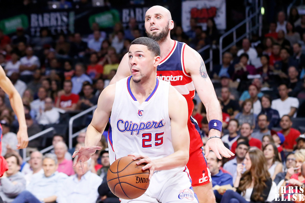 20 March 2015: Los Angeles Clippers guard Austin Rivers (25) dribbles during the Los Angeles Clippers 113-99 victory over the Washington Wizards, at the Staples Center, Los Angeles, California, USA.