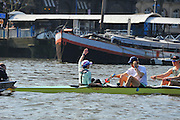 London, UK,  2014 Varsity, Annual Tideway Week. CUBC, Cambridge University Boat Club, Blue Boat, Ian MIDDLETON, cox, raises his hand, during alignment, for practice start. 09:45:16  Tuesday  01/04/2014  : [Mandatory Credit Intersport Images]